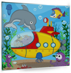 Panel szklany do kuchni - animals on submarine - vector  illustration, eps