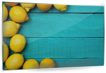 Panel szklany do kuchni - Lemons on the bright cyan background
