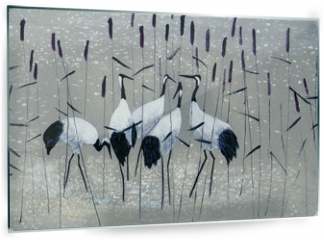 Panel szklany do kuchni - family of cranes