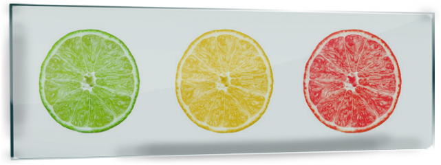 Panel szklany do kuchni - Collection of citrus slices -  lemon, lime and grapefruit
