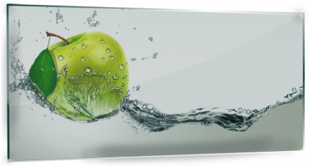 Panel szklany do kuchni - Green Apple amid splashing water.