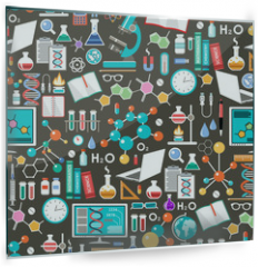 Panel szklany do kuchni - Seamless chemical and scientific pattern.