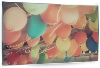 Panel szklany do kuchni - Colorful balloons floating on the ceiling of a party in vintage