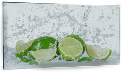 Panel szklany do kuchni - Limes with water splash