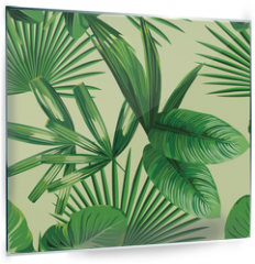 Panel szklany do kuchni - tropical  palm leaves seamless background