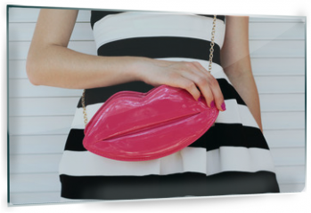 Panel szklany do kuchni - trendy girl in elegant striped dress with pink leather clutch