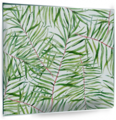 Panel szklany do kuchni - Watercolor tropical leafs pattern