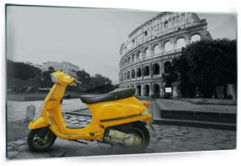 Panel szklany do kuchni - Yellow vintage scooter on the background of Coliseum