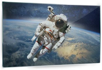 Panel szklany do kuchni - Astronaut in outer space with planet earth as backdrop. Elements