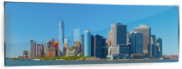 Panel szklany do kuchni - New York City lower Manhattan financial  wall street district buildings skyline on a beautiful summer day with blue sky