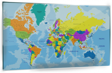 Panel szklany do kuchni - Colorful World political map with clearly labeled, separated layers. Vector illustration.