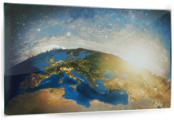 Panel szklany do kuchni - Detailed colorful Earth  highly detailed planet earth in the morning