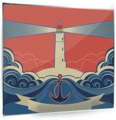 Panel szklany do kuchni - Lighthouse label with anchor and blue sea waves