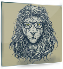 Panel szklany do kuchni - Hipster lion vector illustration. Glasses separated.