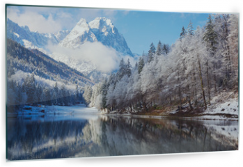 Panel szklany do kuchni - Winter landscape with lake and reflection