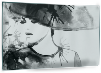 Panel szklany do kuchni - Beautiful face. woman portrait with hat. abstract watercolor .fashion background
