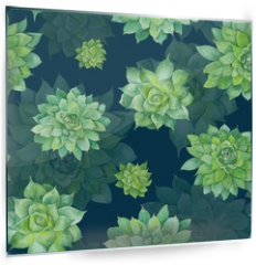 Panel szklany do kuchni - Watercolor Succulent Pattern on Blue Background