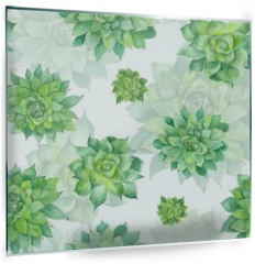 Panel szklany do kuchni - Watercolor Succulent Pattern on White Background