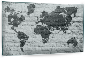 Panel szklany do kuchni - White wall and a picture map of the world