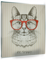 Panel szklany do kuchni - Vintage graphic poster with hipster cat with red glasses.