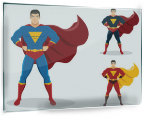 Panel szklany do kuchni - Superhero standing with cape waving in the wind. On the right are 2 additional versions. No gradients used.