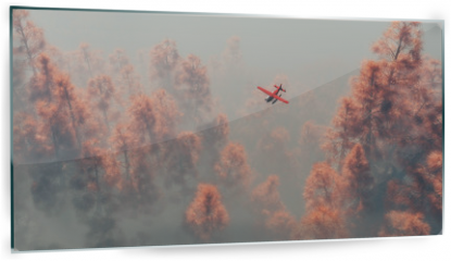 Panel szklany do kuchni - Single engine airplane over autumn pines in the mist.