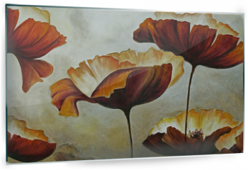 Panel szklany do kuchni - Painting poppies with texture