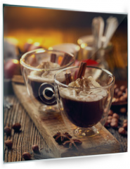 Panel szklany do kuchni - Hot chocolate with whipped cream, sprinkled with aromatic cinnamon in glass cups,  on a rustic wooden table