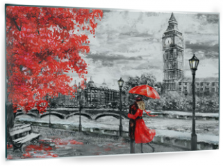 Panel szklany do kuchni - oil painting on canvas, street of london. Artwork. Big ben. man and woman under an red umbrella. Tree. England. Bridge and river